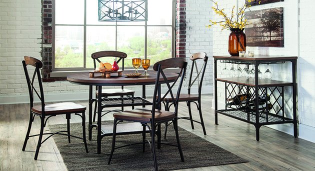 Rolena Brown Round Dining Room Table w/ 4 Side Chairs